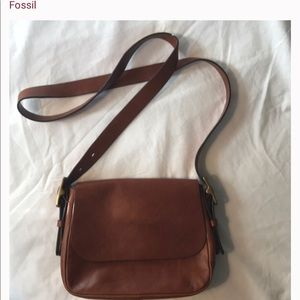 Fossil leather saddle bag